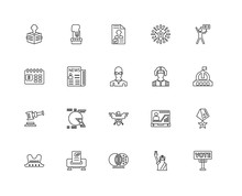 Collection Of 20 Political Linear Icons Such As Auction, Vote, S