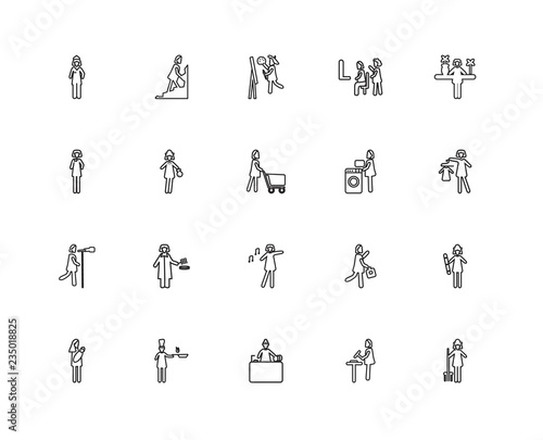 Collection of 20 Ladies linear icons such as Woman Farmer, Black Canvas Print