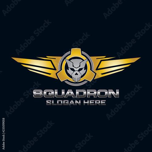 Fototapeta military squadron Skull Logo