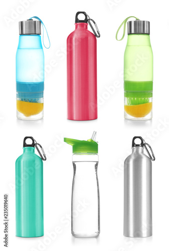 Fényképezés  Set with different sport bottles on white background