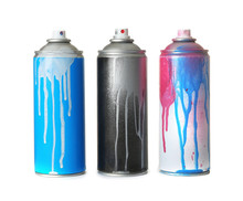 Used Cans Of Spray Paint On Wh...