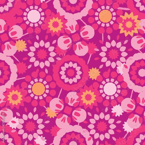 Fotografia  Retro Flowers All Over Print Vector