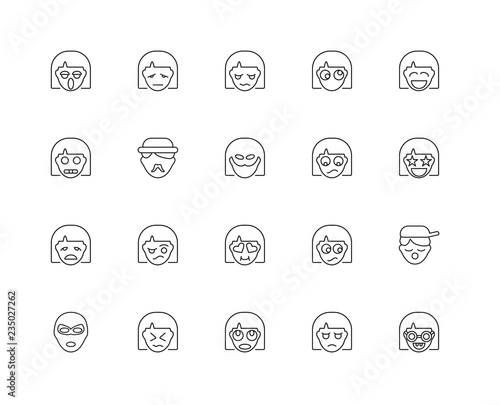 Collection of 20 Emotions linear icons such as Emotion, Nerd, Di Wallpaper Mural