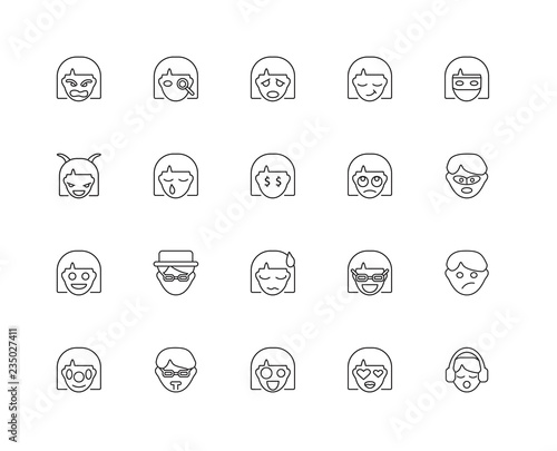 Collection of 20 Emotions linear icons such as Happy, Listening, Canvas Print