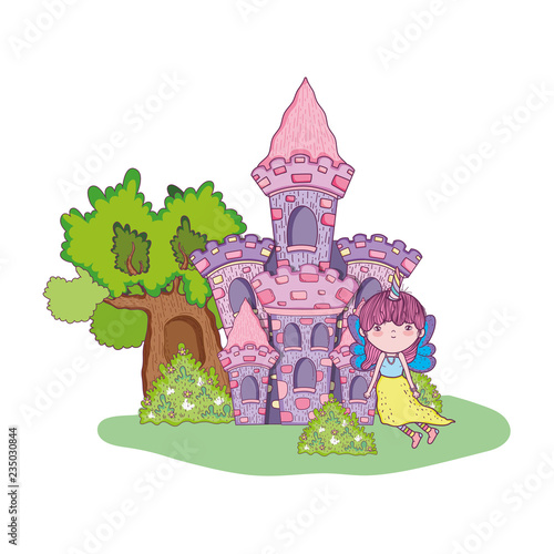 Poster Kasteel cute little fairy with castle in the landscape