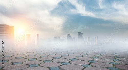 Fototapety, obrazy: Foggy modern city . Mixed media
