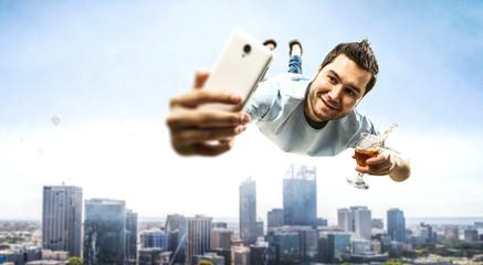 Fototapeta Guy celebrate business success. Mixed media
