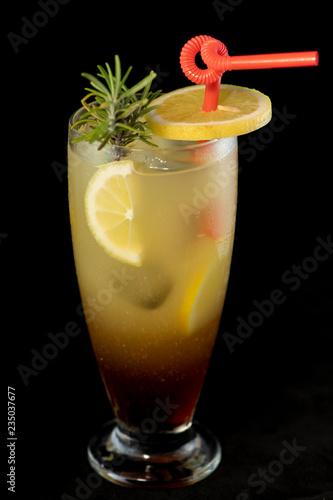 Fényképezés  Long Island cocktail with vodka, tequila, rum, cin and lime juice