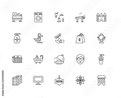 Photo  Collection of 20 Accommodation linear icons such as Building, Fl