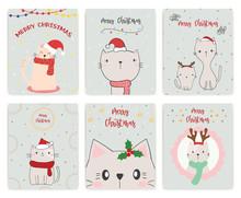 Set Christmas Card. Cute Cat.