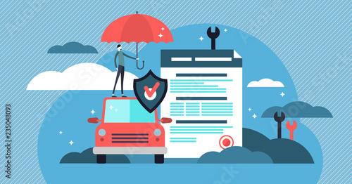Fototapeta Car insurance vector illustration. Stylized car with agreement and umbrella obraz