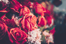 Artificial Roses Flower Bouquest Background In Vintage Style