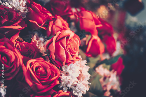 Poster Fleur Artificial Roses flower bouquest background in vintage style