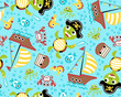 Vector of seamless pattern with pirate theme set cartoon