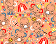 Vector of seamless pattern with circus cartoon animals