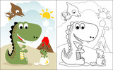 Fototapeta Dinusie - coloring book vector with dinosaurs world cartoon