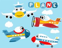 Vector Set Of Funny Planes Cartoon