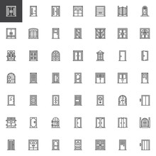 Types Of Doors Outline Icons Set. Linear Style Symbols Collection, Line Signs Pack. Vector Graphics. Set Includes Icons As Closed Office Door, Elevator Entrance Gate, Double Entrance Doorway