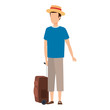 young man with suitcase travel