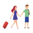 young couple with suitcase travel