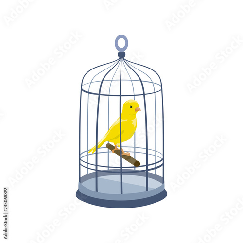 Photo llustration with a bird in a cage. vintage cage