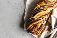 Swirl Brioche With Poppy Seeds. Poppy Seed Braided Or Roll Bread, Babka. Traditional Polish Sweet Christmas Bread.