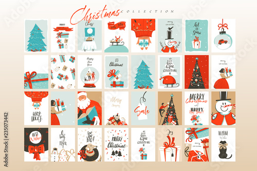 Fotografía  Hand drawn vector abstract fun Merry Christmas time cartoon illustrations greeti