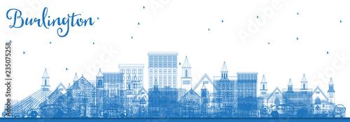 Fotografie, Obraz  Outline Burlington Iowa Skyline with Blue Buildings.