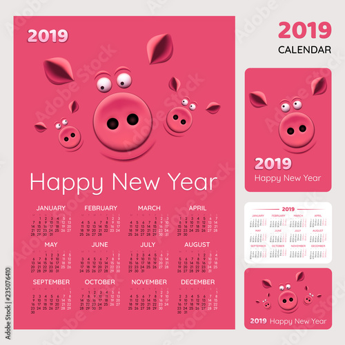 Tableau sur Toile Calendar for happy New Year 2019 year of the pig