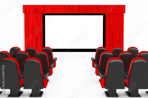 Red Cinema Movie Comfortable Chairs in front of Cinema Screen with Open Red Curtain. 3d Rendering