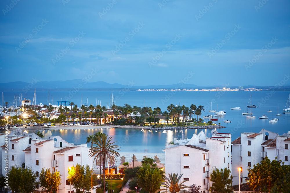 Fototapety, obrazy: Port de Alcudia cityscape at sunrise, Mallorca, Spain.