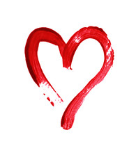 Red Heart Painted With A Brush