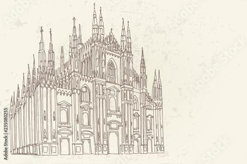 Fotografía  Duomo cathedral in Milan. Vector sketch.