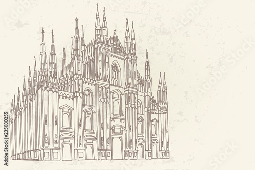 Carta da parati Duomo cathedral in Milan. Vector sketch.