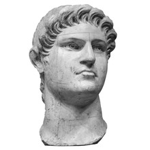 Portrait Of Roman Emperor Nero Claudius Caesar Augustus Germanicus Isolated On White Background