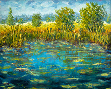 Abstract Claude Monet Pond Oil...