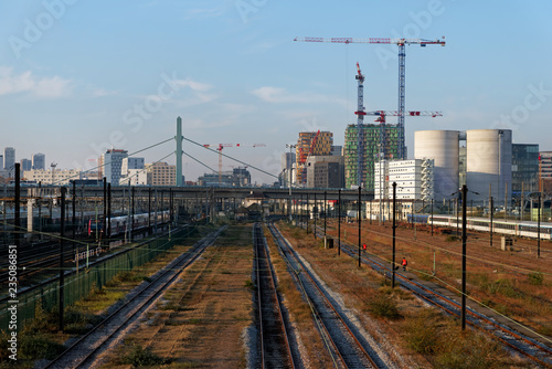 Fototapeta Railway tracks in Paris suburb. Ivry sur Seine obraz na płótnie
