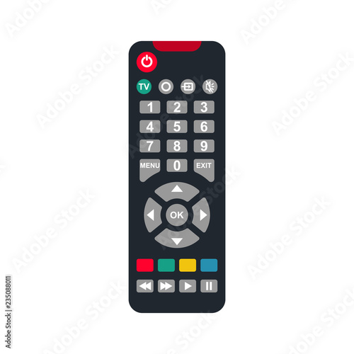 Remote control flat icon. Remote for TV or media center. Device for films cinema video. Leisure at home. Vector illustration cartoon design. Isolated on white background. Buttons to control player.