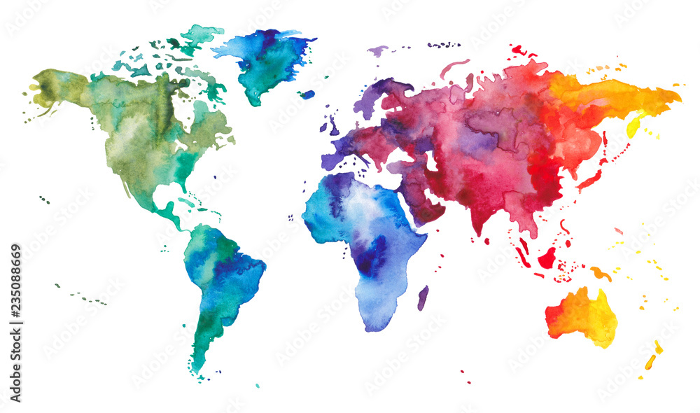 Fototapety, obrazy: Watercolor World Map