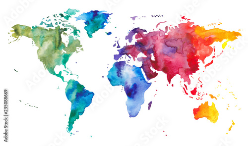 Fotografie, Tablou  Watercolor World Map