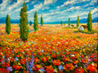 Leinwanddruck Bild - Flowers paintings monet painting claude impressionism paint landscape flower meadow oil