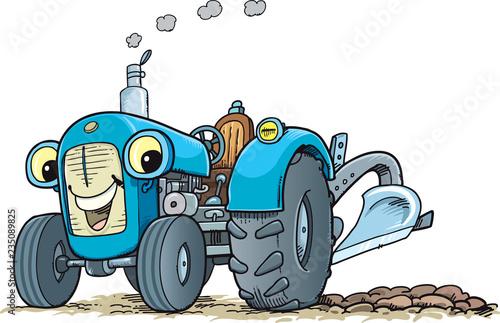 Ilustracja kreskówka wektor zabawny ciągnik rolniczy pojazd komiks postać maskotka