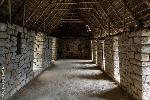 Inside an ancient house at Machu Picchu, Peru