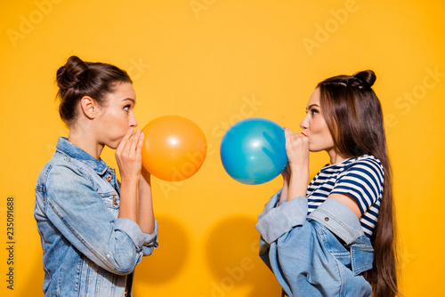 Photo portrait of two brunette hair lady look to each other blow Canvas Print