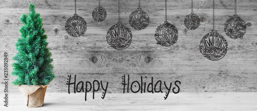 Poster Graffiti Tree, Ball, Calligraphy Happy Holidays, Gray Wooden Background