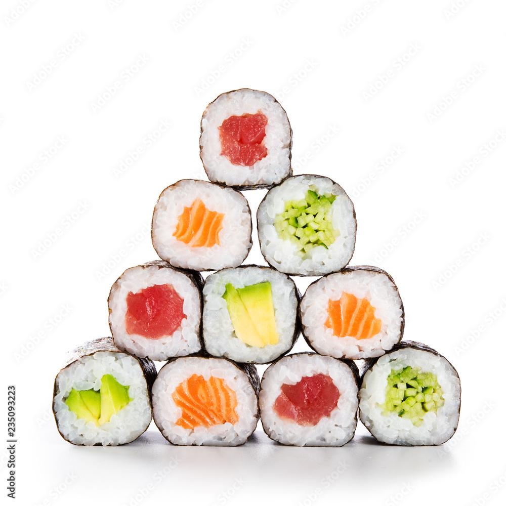 Fototapety, obrazy: Pyramid of sushi hosomaki