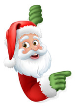 Santa Claus Christmas Cartoon Character Peeking Around A Sign And Pointing