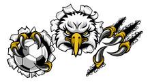 An Eagle Bird Soccer Football Sports Mascot Cartoon Character Ripping Through The Background Holding A Ball