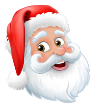 Santa Claus Or Father Christmas Cartoon Character Face Graphic