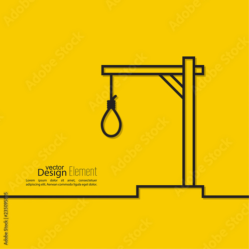 Rope with a loop concept of the death penalty by hanging. Noose with hangmans knot. Vector illustration.